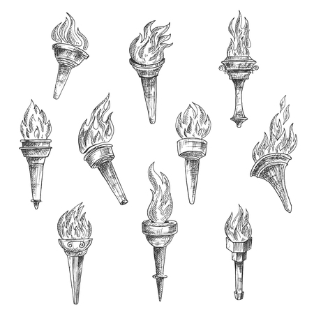 Antique burning torches with curly fire flames in vintage sketch engraving style. Addition to sport, history, religion theme
