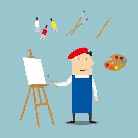 craftsman: Artist profession concept with craftsman in french red beret and neckerchief, paint tubes and paint brushes, pencils, sketchbook and palette, easel and sculpture icons