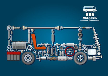 axles: Mechanical parts arranged in a shape of a bus with crankshafts and fuel tank, battery and steering wheel, cylinder and wheels, discs and speedometer, axles, seat and headlight. Bus mechanics design Illustration