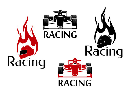 Car racing symbols in red and black colours for motorsport competition design with open wheel racing cars and flaming racing helmets