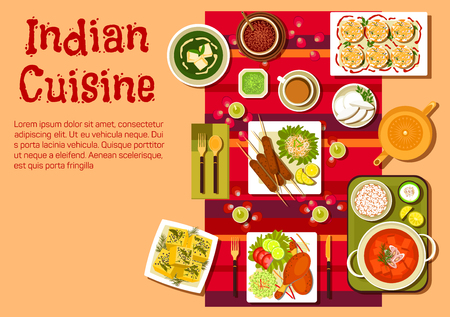 food illustration: Indian national cuisine dishes with festive table, setting with candles, rose petals and curry with rice, kebab and tandoori chicken legs, vegetables and lemons, spinach soup with cheese, dessert and tea Illustration