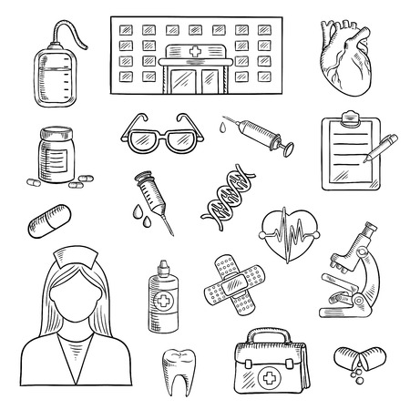 first aid kit: Medical sketched icons of hospital building, doctor and first aid kit, glasses and microscope, medicine bottles and blood bag heart, syringe and DNA, plaster and clipboard, pen and tooth Illustration