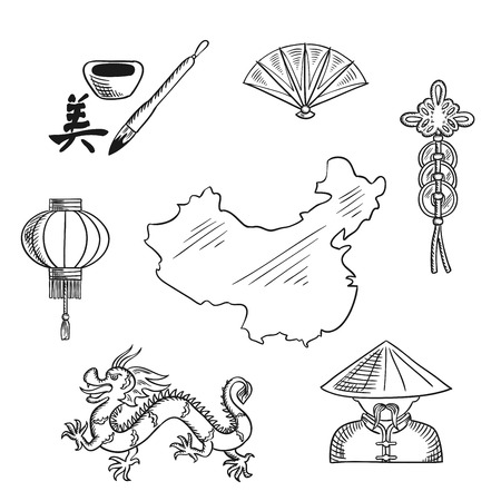 Chinese national symbols with dragon and  mandarin or chinaman, lantern and calligraphy, fan and wealth symbol around a map of China