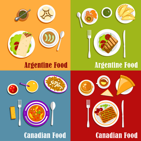 alfajor: Popular national dishes of Canada and Argentina with empanadas, poutine, grilled beef steak and peameal bacon, vegetable stew, pancakes with maple syrup, milk caramel candies, alfajor cookies and butter tart, mate tea and fresh juice Illustration