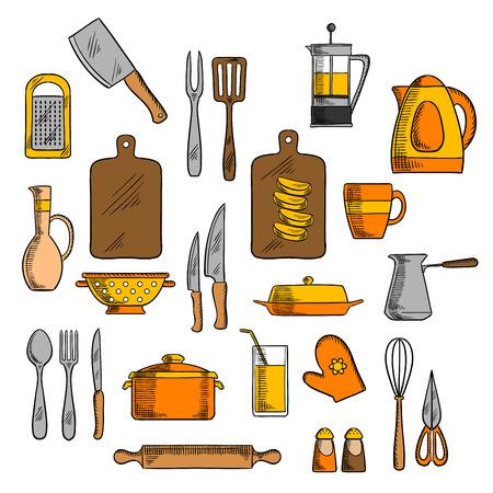 ustensiles de cuisine: icônes de cuisine de pot et une bouilloire électrique, cafetière et théière, planche à découper et les couteaux, fourchettes, tasse et verre, cuillère et rouleau à pâtisserie, spatule et râpe, fouetter et cruche, salières et poivrières, gant de four Illustration