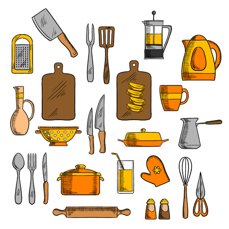 kitchenware: Kitchenware icons of pot and electric kettle, coffee and tea pots, cutting board and knives, forks, cup and glass, spoon and rolling pin, spatula and grater, whisk and jug, salt and pepper shakers, oven glove Illustration