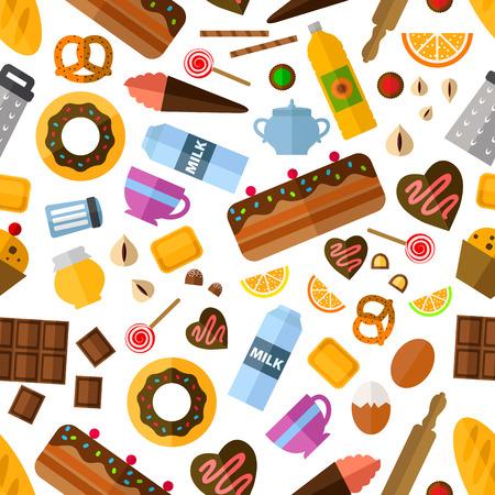botanas: Pastelería y panadería con patrón transparente Vaus tartas y bizcochos, pastel y dulces, aperitivos y miel, ingredientes para hornear y utensilios de cocina Vectores