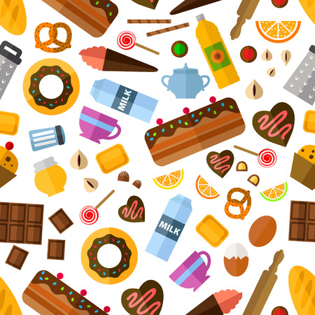 snack: Pastry and bakery seamless pattern with various cakes and cupcakes, pie and candy, snacks and honey, baking ingredients and kitchen utensil Illustration