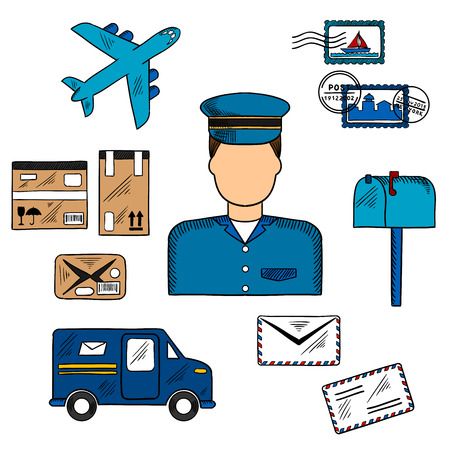 postage stamps: Postal icons around a Postman with postage stamps and letterbox, packages and van, airplane and letters. Postman profession theme