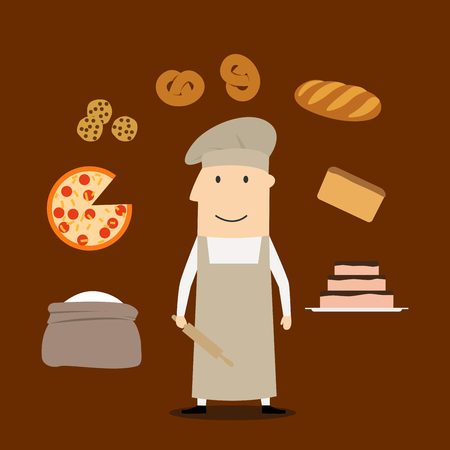tunic: Baker profession concept with man in chef hat and tunic with flour and rolling pin, , bread and pie, pizza and cookies, bread and loaf Illustration