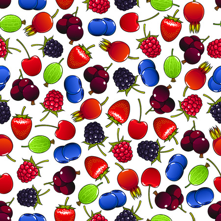 briar: Sweet raspberry and strawberry, black currants and cherry, blackberry and gooseberry, blueberry and briar fruits seamless pattern