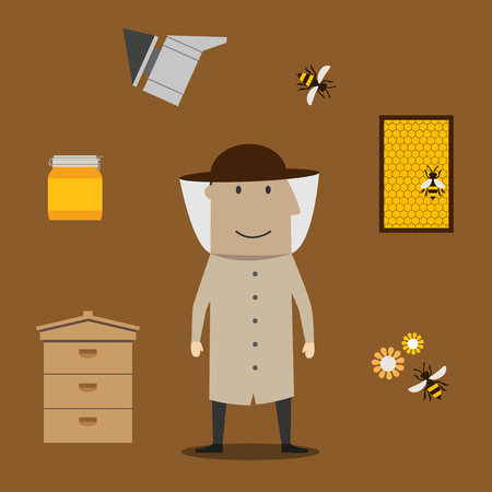apiculture: Beekeeper profession and beekeeping icons with man in hat encircled by honey drops and wooden beehives, frame with honeycomb, honey jar with dipper, smoker and bees with flowers
