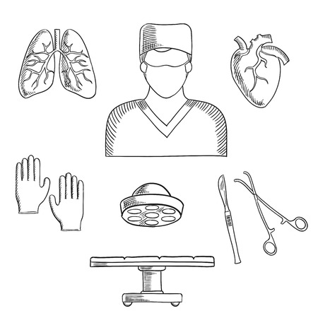 surgeon: Surgeon profession objects and icons with doctor in mask, with operation table and lamp, gloves, human heart and lung, scalpel and forceps