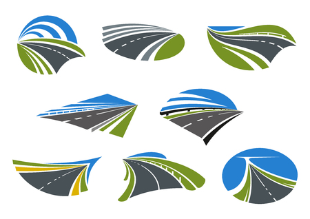 highway: Roads and modern speed highways icons with green and yellow roadsides and blue sky. For travel, vacation or transportation design