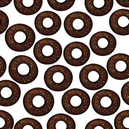 sprinkles: Sweet chocolate donuts pattern for fast food pastry or bakery shop design with seamless ornament of donuts, topped with colorful sprinkles and sugar powder