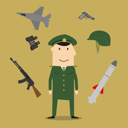peaked: Army icons with soldier in army combat uniform, helmet and body armor, surrounded by hand grenade and peaked cap, binoculars and air bomb, aircraft and gun