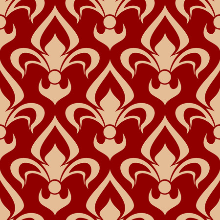 usage: Seamless medieval victorian fleur-de-lis pattern for heraldic design usage with beige floral composition of royal french lilies over red background