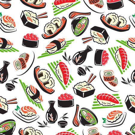 susi: Japanese seafood cuisine seamless pattern with sushi, rice and salmon, shrimps and sashimi, tuna and rolls Illustration
