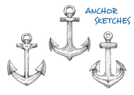 stocked: Vintage marine anchors sketch icons for navy heraldic symbol, yacht club emblem, nautical travel or vacation theme design Illustration