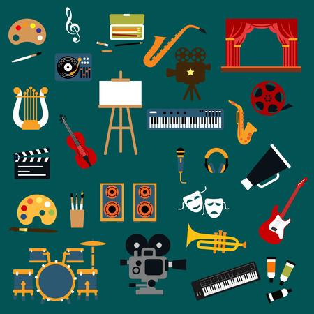 cinta pelicula: El arte, la música, el cine y el teatro iconos planos con instrumentos musicales ans micrófono, altavoces y reproductor de discos, cámaras de película y rollo de película, claqueta y caballete, pinturas y la paleta, pinceles, escenario del teatro y máscaras Vectores