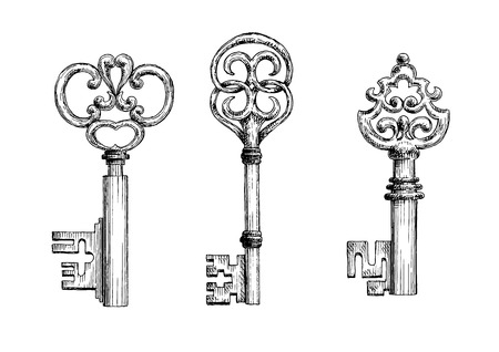 passkey: Isolated vintage medieval key skeletons in sketch style. For history, security concept or decoration design Illustration