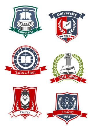 Universidad, academia, universidad y educación iconos con los libros y de plumas, búho coronado, modelo del átomo y la columna griega, enmarcado por los escudos medievales, coronas de laurel y banderas de la cinta