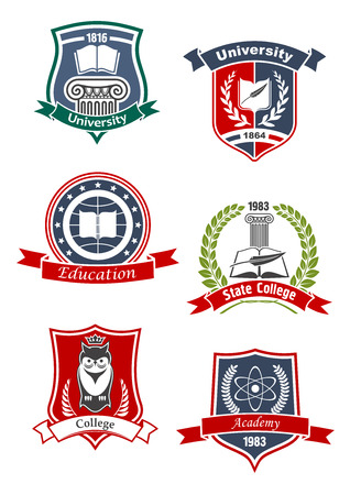 crests: University, academy, college and education icons with books and feather, crowned owl, atom model and greek column, framed by medieval shields, laurel wreaths and ribbon banners