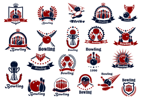 crowned: Retro heraldic sporting emblems or symbols for bowling club, team or tournament design with balls and ninepins, strikes and lanes, sport trophies framed by crowned shields and wreaths, stars and ribbon banners
