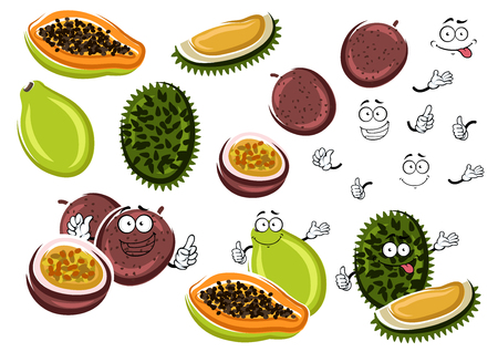 thai dessert: Cartoon aroma papaya, juice maracuja and smelly durian fruits. Exotic thai fruits characters for tropical dessert recipe or healthy food theme design