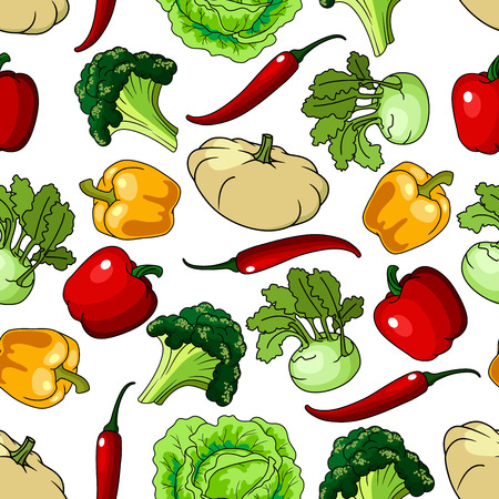 bell pepper: Healthy vegetables seamless pattern with broccoli and bell pepper, lettuce and chili pepper, kohl and pumpkin or squash