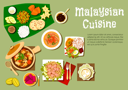 Malaysian cuisine menu with nasi lemak rice and prawn noodle, tofu noodle with curry, pork stew with mushrooms and tofu, passion fruit and carambola, mango, pineapple fruits with bread and dessert on banana leaf