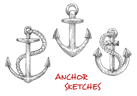 stocked: Old marine anchors isolated sketches of large stocked anchors with twisted ropes. May be used as navy heraldic symbol, yacht club emblem or tattoo design