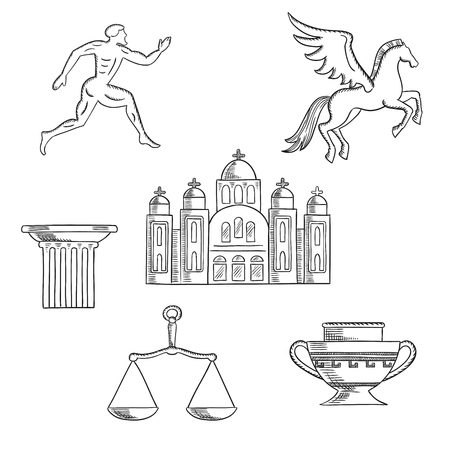 pegasus: Greece culture and history icons with Greek runner, capital on a column, pegasus and amphora, scales and temple