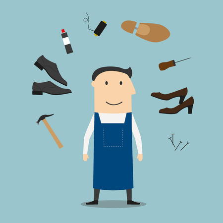 Shoemaker profession icons with man in apron, surrounded by awl and heels, hammer tool and glue, nails and shoes