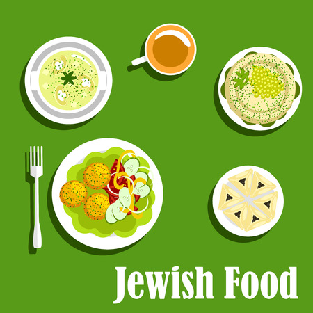 matzo: Popular kosher dishes of jewish cuisine with matzo balls, served with fresh tomato, cucumber and pepper, creamy mushroom soup, pitta bread topped with green peas and spicy herbs, coffee cup, hamentashen pastries, filled with poppy seeds Illustration