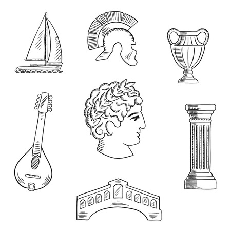 roman: Italian culture, history and travel sketched icons with Caesar in wreath, roman helmet and venice bridge, ancient vase and mandolin, doric column and sailboat. Sketch style