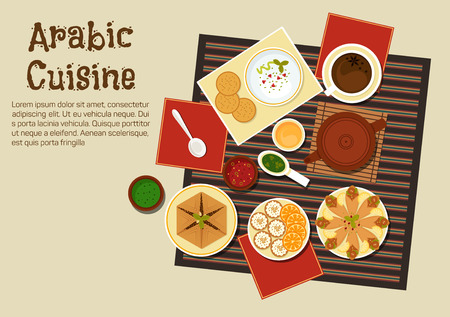 dipping: Spicy arabian and turkish food with chickpea falafels, wrapped in flatbread, pita with hummus, assortment of dipping sauces, sfiha meat pie, teapot and cakes with sliced oranges. Restaurant menu or recipe book design