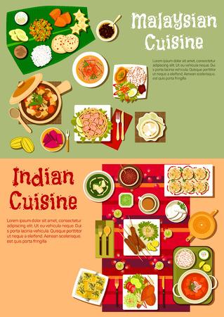 I piatti della cucina nazionale indiana e malese con riso e curry, kebab e verdure fresche, stufato di carne, tagliatelle con gamberi e tofu, pollo tandoori piccante e frutti esotici, dolci e bevande