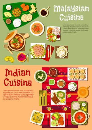 Dishes of indian and malaysian national cuisine with rice and curry, kebab and fresh vegetables, meat stew, noodles with prawns and tofu, spicy tandoori chicken and exotic fruits, desserts and beverages