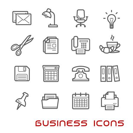 Negocios y la oficina de línea delgada iconos con bombilla de luz y teléfono, calendario y calculadora, correo y carpetas, documentos y una silla, trituradora de papel y tijeras, la lámpara y el pin, clip y la impresora, la letra y el café