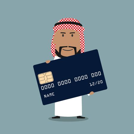 cartoon bank: Arab businessman in white thobe and keffiyeh presenting blue credit card. Banking service, finance, business presentation themes design