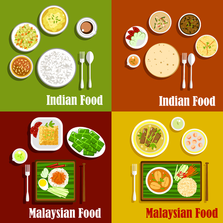 Malaysian and indian national cuisine dishes. Nasi lemak rice and various curry, served with chapati bread and shrimps, fish and beef rendang, tomato chutney and fresh vegetables, desserts and tea drinks Illustration