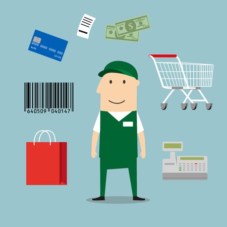 woman credit card: Seller profession and retail icons including a bag, till or cash register, credit card payment, bar code and bag of groceries around a shop seller
