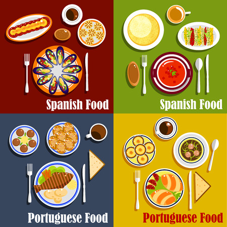 Mediterranean cuisine flat icon with spanish gazpacho, mussels with vegetables, tortilla egg omelette and portuguese cod fish, empanadas, green broth soup, egg tarts and strong coffee