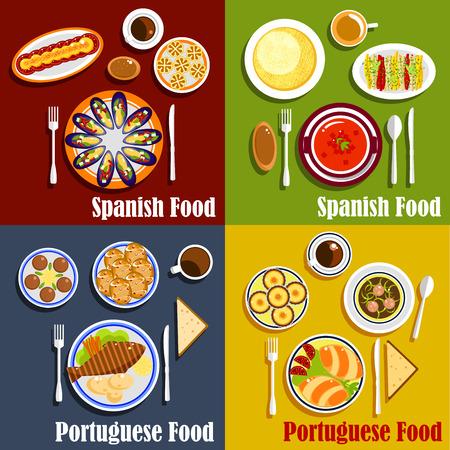 icona piatto della cucina mediterranea con gazpacho spagnolo, cozze con verdure, frittata frittata di uova e baccalà portoghese, empanadas, minestra di brodo verde, crostate a base di uova e caffè forte
