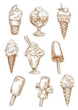 Ice cream sketches with ice cream cones, chocolate ice cream on sticks and sundae desserts in bowls, decorated by cherry fruit, nuts and wafer tube. Retro design for dessert menu, recipe book, sweet food