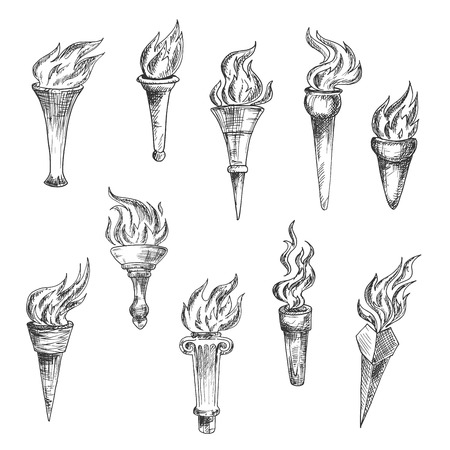 flaming: Sketches of flaming torches with conical handles and broad cups. Engraving stylized antique torches for sport, heraldic or history theme