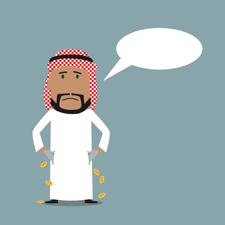 penniless: Bankruptcy, financial crisis, poverty business concept. Bankrupt arab businessman showing his empty pockets with speech bubble above