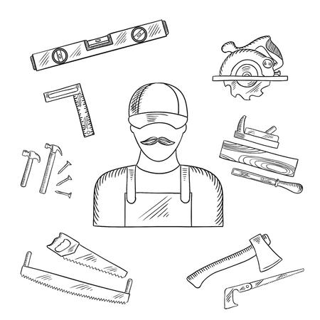 serrucho: Carpenter y toolbox bosquejos con el martillo, archivo, hacha, clavos, sierra de mano, sierra para metales, regla, el plano y la medición de nivel