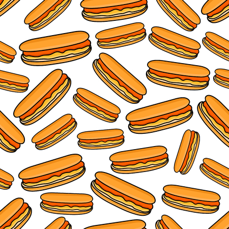 sweet sauce: Cartoon fast food background for takeaway menu restaurant design with seamless pattern of colorful hot dogs with smoked sausages and sweet french mustard sauce
